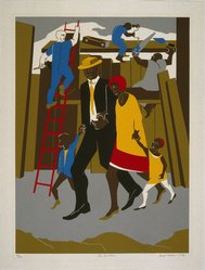 Jacob Lawrence (American, 1917-2000). The Builders, 1974. Screenprint, Sheet: 34 x 25 3/4 in. (86.4 x 65.4 cm). Brooklyn Museum, Gift of Helen and Monte Getler, 84.23. © artist or artist's estate