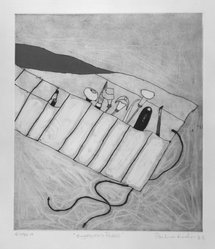Pauline Kinahan. Engraver's Purse, 1983. Color intaglio, Sheet: 20 1/8 x 15 1/16 in. (51.1 x 38.3 cm). Brooklyn Museum, Gift of the Printmaking Workshop in honor of Una E. Johnson, 84.307.7. © artist or artist's estate