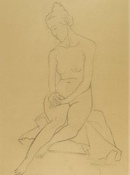 William Zorach (American, born Lithuania, 1887-1966). Seated Nude, 1930. Graphite on beige, medium-weight, moderately textured wove paper, Sight: 22 7/8 x 16 3/4 in. (58.1 x 42.5 cm). Brooklyn Museum, Gift of the collection of the Zorach children, 84.45.2. © The Zorach Collection, LLC