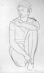 William Zorach (American, born Lithuania, 1887-1966). Kneeling Woman, ca. 1930. Graphite on paper, Sheet: 17 3/16 x 10 3/8 in. (43.7 x 26.4 cm). Brooklyn Museum, Gift of William Bloom, 84.46.15. © artist or artist's estate