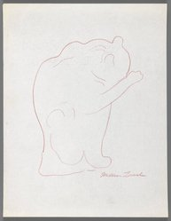 William Zorach (American, born Lithuania, 1887-1966). Cat Washing Its Paws, ca. 1936. Red pencil on paper, Sheet: 11 x 8 1/2 in. (27.9 x 21.6 cm). Brooklyn Museum, Gift of William Bloom, 84.46.9. © artist or artist's estate