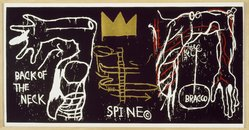 Jean-Michel Basquiat (American, 1960-1988). Back of the Neck, 1983. Silkscreen with hand painting, 50 1/2 x 102in. (128.3 x 259.1cm). Brooklyn Museum, Charles Stewart Smith Memorial Fund, 84.48. © artist or artist's estate