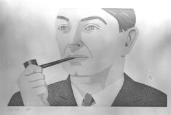 Alex Katz (American, born 1927). Man with Pipe, 1984. Etching and aquatint, Sheet: 19 11/16 x 25 7/8 in. (50 x 65.8 cm). Brooklyn Museum, Gift of the Community Committee of the Brooklyn Museum, 84.83. © artist or artist's estate