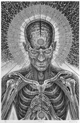 Alex Grey (American, born 1953). Praying, 1984. Lithograph and screenprint Brooklyn Museum, Gift of Anne C. Kolker, 85.128.2. © artist or artist's estate