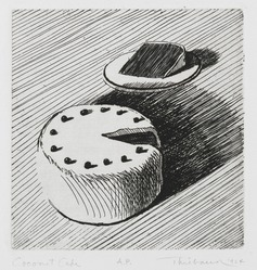 Wayne Thiebaud (American, born 1920). Coconut Cake, 1964. Etching on paper, sheet: 15 x 11 1/8 in. (38.1 x 28.3 cm). Brooklyn Museum, Gift of IBM Gallery of Science and Art, 85.187.43. © artist or artist's estate