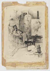 Thomas Fogarty (American, 1873-1938). Self-Portrait in Studio, n.d. Graphite and ink wash with touches of Chinese white on paper mounted to paperboard, Sheet: 14 1/2 x 10 in. (36.8 x 25.4 cm). Brooklyn Museum, Gift of Sidney M. Katz, 85.243.5. © artist or artist's estate