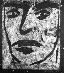 Edward Brezinski. Face, 1983. Linocut in white ink on paper, Sheet: 46 15/16 x 41 9/16 in. (119.3 x 105.5 cm). Brooklyn Museum, Purchased with funds given by the Louis Comfort Tiffany Foundation, 85.35.1. © artist or artist's estate