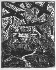 Italo Scanga (American, 1932-2001). The Bombing of Monte Cassino, 1984. Woodcut on paper, sheet: 28 x 20 in. (71.1 x 50.8 cm). Brooklyn Museum, Purchased with funds given by the Louis Comfort Tiffany Foundation, 85.60.4. © artist or artist's estate