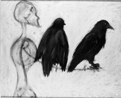 Craig Langager. Two Birds on a Limb, 1946. Charcoal and chalk on rag paper, 28 x 34 in. (71.1 x 86.4 cm). Brooklyn Museum, Anonymous gift, 86.151.3. © artist or artist's estate
