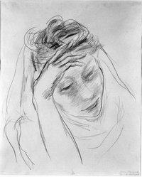 Yasuo Kuniyoshi (American, born Japan, 1889-1953). Girl's Head, ca. 1930. Graphite on paper, Sheet: 17 x 13 7/8 in. (43.2 x 35.2 cm). Brooklyn Museum, Gift of Mr. and Mrs. David Goldschild in memory of William Liberman, 86.294.3. © artist or artist's estate