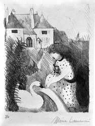 Marie Laurencin (French, 1885-1956). Girl Feeding a Swan, early 20th century. Lithograph, Image: 9 7/16 x 7 1/2 in. (24 x 19 cm). Brooklyn Museum, Bequest of Seaman Bechtel, 86.38.12. © artist or artist's estate
