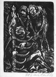 Ernst Barlach (German, 1870-1938). The Harpist (Der Harfner), 1923. Woodcut on thin Japan paper, Image: 5 1/8 x 3 5/8 in. (13 x 9.2 cm). Brooklyn Museum, Gift of John James, 87.153. © artist or artist's estate