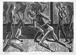 Lou Barlow (American, 1908-2011). The Joggers, 1986. Wood engraving on wove paper Brooklyn Museum, Gift of the artist, 87.197.1. © artist or artist's estate