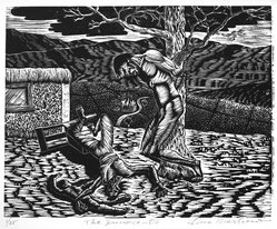 Lou Barlow (American, 1908-2011). The Innocents, 1986. Linocut on Rives paper, Sheet (folio): 15 x 13 1/4 in. (38.1 x 33.7 cm). Brooklyn Museum, Gift of the artist, 87.197.4. © artist or artist's estate