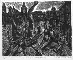 Lou Barlow (American, 1908-2011). Victory Celebration - July 19, 1979, 1986. Linocut on Rives paper, Sheet (folio): 15 x 13 1/4 in. (38.1 x 33.7 cm). Brooklyn Museum, Gift of the artist, 87.197.5. © artist or artist's estate
