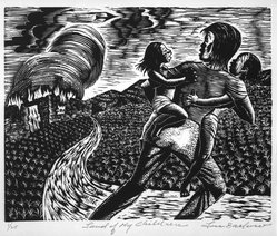 Lou Barlow (American, 1908-2011). Land of My Children, 1986. Linocut on Rives paper, Sheet (folio): 15 x 13 1/4 in. (38.1 x 33.7 cm). Brooklyn Museum, Gift of the artist, 87.197.7. © artist or artist's estate