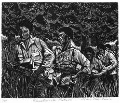 Lou Barlow (American, 1908-2011). Sandinista Patrol, 1986. Linocut on Rives paper, Sheet (folio): 15 x 13 1/4 in. (38.1 x 33.7 cm). Brooklyn Museum, Gift of the artist, 87.197.8. © artist or artist's estate