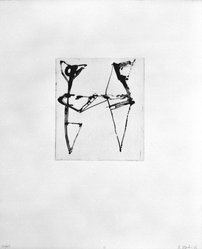 """Brice Marden (American, born 1938). Print from """"Etchings to Rexroth,"""" 1986. Sugar lift, aquatint, open bite, drypoint and scraping on paper, sheet: 19 1/2 x 16 in. (49.5 x 40.6 cm). Brooklyn Museum, Purchased with funds given by Henry and Cheryl Welt, 87.54.11. © artist or artist's estate"""