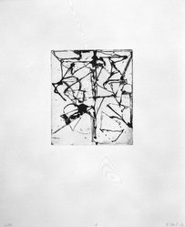 """Brice Marden (American, born 1938). Print from """"Etchings to Rexroth,"""" 1986. Sugar lift, aquatint, open bite, drypoint and scraping on paper, sheet: 19 1/2 x 16 in. (49.5 x 40.6 cm). Brooklyn Museum, Purchased with funds given by Henry and Cheryl Welt, 87.54.14. © artist or artist's estate"""