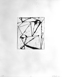 """Brice Marden (American, born 1938). Print from """"Etchings to Rexroth,"""" 1986. Sugar lift, aquatint, open bite, drypoint and scraping on paper, sheet: 19 1/2 x 16 in. (49.5 x 40.6 cm). Brooklyn Museum, Purchased with funds given by Henry and Cheryl Welt, 87.54.23. © artist or artist's estate"""