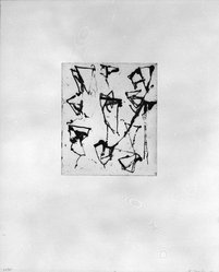 """Brice Marden (American, born 1938). Print from """"Etchings to Rexroth,"""" 1986. Sugar lift, aquatint, open bite, drypoint and scraping on paper, sheet: 19 1/2 x 16 in. (49.5 x 40.6 cm). Brooklyn Museum, Purchased with funds given by Henry and Cheryl Welt, 87.54.4. © artist or artist's estate"""