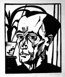 Erich Heckel (German, 1883-1970). Bildnis E.H. (Portrait of E.H.), 1917. Woodcut on laid paper, Sheet: 20 1/2 x 18 7/8 in. (52.1 x 47.9 cm). Brooklyn Museum, Alfred T. White Fund, 88.136. © artist or artist's estate