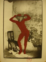 Kaspar Thomas Linder (Swiss, born 1951). August 1, 1984, 1984. Gelatin silver photograph with applied red paint, Sheet: 15 x 10 1/4 in. Brooklyn Museum, Gift of Marcuse Pfeifer, 1990.119.54. © artist or artist's estate