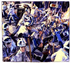James Romberger (American, born 1958). Police vs. Squatters, 1989. Pastel on paper, 38 1/4 x 42 1/2 in. (97.1 x 107.9 cm. Brooklyn Museum, Purchase gift of Anne W. Werner, 1990.53. © artist or artist's estate