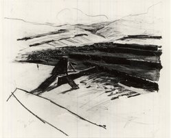 Jaacov Hefetz (Israeli, born 1946). Study for Scultpure: Border Drawing, 1983. Photographic collage, gouache, pencil, and charcoal on paper, 10 1/8 x 12 in. (25.7 x 30.5 cm). Brooklyn Museum, Anonymous gift, 1991.14.6. © artist or artist's estate