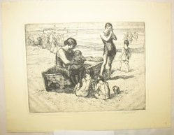 George Renouard (American, 1855-1954). On the Beach, n.d. Etching on wove paper, sheet: 8 11/16 x 11 1/4 in. (22.1 x 28.5 cm). Brooklyn Museum, Gift of Gertrude W. Dennis, 1991.153.25. © artist or artist's estate