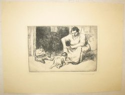 George Renouard (American, 1855-1954). Mother and Children, n.d. Etching on wove paper, sheet: 7 15/16 x 10 1/2 in. (20.1 x 26.6 cm). Brooklyn Museum, Gift of Gertrude W. Dennis, 1991.153.26. © artist or artist's estate