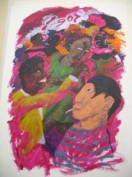 Robert Colescott (American, 1925-2009). Bal Negre Paris 1907, 1989. Acrylic on paper, 42 x 30 in. (106.7 x 76.2 cm). Brooklyn Museum, A. Augustus Healy Fund, 1991.64. © artist or artist's estate
