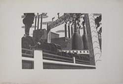 Salvatore Pinto (American, 1905-1966). Locomotive, ca. 1935. Wood engraving on laid paper, Image: 6 15/16 x 9 7/8 in. (17.6 x 25.1 cm). Brooklyn Museum, Emily Winthrop Miles Fund, 1993.133.1. © artist or artist's estate