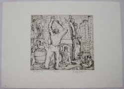 Philip Reisman (American, 1904-1992). Builders I, 1927-1934. Etching on paper, sheet: 9 1/2 x 13 1/8 in. (24.1 x 33.4 cm). Brooklyn Museum, Gift of Louise Reisman, 1993.39.10. © artist or artist's estate