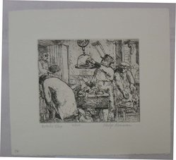 Philip Reisman (American, 1904-1992). Butcher Shop, 1927-1934. Etching on paper, sheet: 8 9/16 x 9 9/16 in. (21.8 x 24.3 cm). Brooklyn Museum, Gift of Louise Reisman, 1993.39.12. © artist or artist's estate