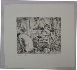 Philip Reisman (American, 1904-1992). Butcher Shop, 1927-1934. Etching on paper, sheet: 8 9/16 x 9 9/16 in. (21.8 x 24.3 cm). Brooklyn Museum, Gift of Louise Reisman, 1993.39.12. © artist or artist's estate