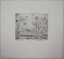 Philip Reisman (American, 1904-1992). The Bathroom, 1927-1934. Etching on paper, sheet: 8 13/16 x 9 1/2 in. (22.4 x 24.1 cm). Brooklyn Museum, Gift of Louise Reisman, 1993.39.4. © artist or artist's estate