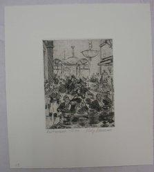 Philip Reisman (American, 1904-1992). Restaurant, 1927-1934. Etching on paper, sheet: 10 11/16 x 9 7/16 in. (27.1 x 24 cm). Brooklyn Museum, Gift of Louise Reisman, 1993.39.47. © artist or artist's estate