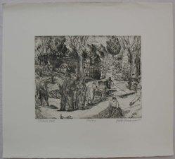 Philip Reisman (American, 1904-1992). Sunday Stroll, n.d. Etching on paper, sheet: 13 x 14 7/16 in. (33 x 36.6 cm). Brooklyn Museum, Gift of Louise Reisman, 1993.39.53. © artist or artist's estate