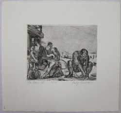 Philip Reisman (American, 1904-1992). The Beach II, 1927-1934. Etching on paper, sheet: 8 13/16 x 9 7/16 in. (22.4 x 23.9 cm). Brooklyn Museum, Gift of Louise Reisman, 1993.39.6. © artist or artist's estate