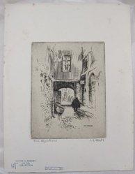 Lester George Hornby (American, 1882-1956). Rue Eginhard, n.d. Etching, Sheet: 12 13/16 x 9 13/16 in. (32.6 x 24.9 cm). Brooklyn Museum, Gift of Julian and Elaine Hyman, 1995.34.1. © artist or artist's estate