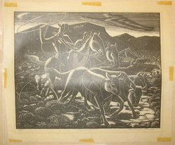 Roderick Mead (American, 1900-1971). Roundup, 1947. Wood engraving, sheet: 9 5/8 x 11 7/16 in. (24.5 x 29 cm). Brooklyn Museum, Gift of William C. Brown in memory of Mary H. Brown, 1996.154.2. © artist or artist's estate