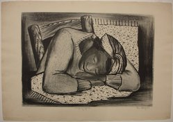 Riva Helfond (American, 1910-2002). Sleeping Girl, Fatigued Black Woman, ca. 1937. Lithograph on cream wove paper, Sheet: 16 1/16 x 23 in. (40.8 x 58.4 cm). Brooklyn Museum, Emily Winthrop Miles Fund, 1996.50. © artist or artist's estate