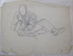 James Brooks (American, 1906-1992). [Untitled] (Seated Male), n.d. Charcoal and graphite on paper, Sheet: 18 15/16 x 24 1/4 in. (48.1 x 61.6 cm). Brooklyn Museum, Gift of Charlotte Park Brooks in memory of her husband, James David Brooks, 1996.54.101. © artist or artist's estate