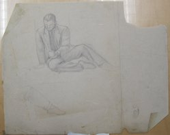 James Brooks (American, 1906-1992). [Untitled] (Seated Male with a Mug), n.d. Graphite on paper, Sheet: 18 13/16 x 23 13/16 in. (47.8 x 60.5 cm). Brooklyn Museum, Gift of Charlotte Park Brooks in memory of her husband, James David Brooks, 1996.54.107. © artist or artist's estate