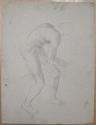 James Brooks (American, 1906-1992). [Untitled] (Crouching Male Figure as Seen from Behind), n.d. Graphite on paper, Sheet: 21 x 16 in. (53.3 x 40.6 cm). Brooklyn Museum, Gift of Charlotte Park Brooks in memory of her husband, James David Brooks, 1996.54.110. © artist or artist's estate