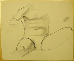 James Brooks (American, 1906-1992). [Untitled] (Seated torso with Legs Spread), n.d. Ink and graphite on paper, Sheet: 13 15/16 x 16 15/16 in. (35.4 x 43 cm). Brooklyn Museum, Gift of Charlotte Park Brooks in memory of her husband, James David Brooks, 1996.54.159. © artist or artist's estate