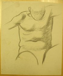 James Brooks (American, 1906-1992). [Untitled] (Torso), n.d. Charcoal on paper, Sheet: 16 15/16 x 13 15/16 in. (43 x 35.4 cm). Brooklyn Museum, Gift of Charlotte Park Brooks in memory of her husband, James David Brooks, 1996.54.160. © artist or artist's estate