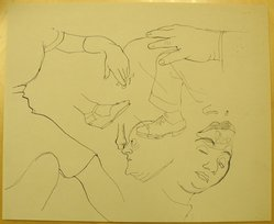 James Brooks (American, 1906-1992). [Untitled] (Faces, Hands and Legs), n.d. Ink on paper, Sheet: 13 15/16 x 16 15/16 in. (35.4 x 43 cm). Brooklyn Museum, Gift of Charlotte Park Brooks in memory of her husband, James David Brooks, 1996.54.165. © artist or artist's estate