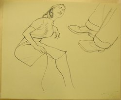 James Brooks (American, 1906-1992). [Untitled] (Woman Seated and Man's Legs), n.d. Ink on paper, Sheet: 13 15/16 x 16 15/16 in. (35.4 x 43 cm). Brooklyn Museum, Gift of Charlotte Park Brooks in memory of her husband, James David Brooks, 1996.54.166. © artist or artist's estate